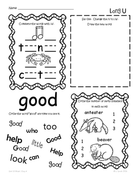 Kindergarten Wonders Unit 10 Homework Packet