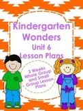 Kindergarten Wonders Unit 6 Lesson Plans