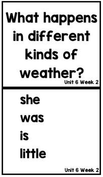 Kindergarten Wonders Unit 6 Weeks 1-3 Focus Board Full Size