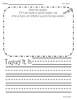 Kindergarten Wonders Unit 6 Writing Supplement Pack