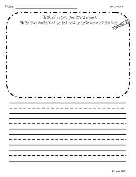 Kindergarten Wonders Unit 7 Writing Supplement Pack
