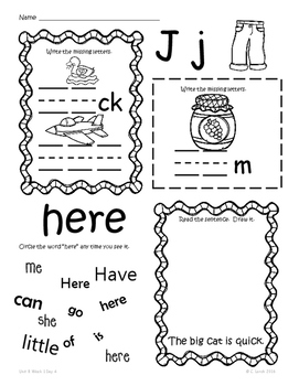 Kindergarten Wonders Unit 8 Homework Packet