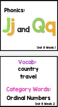 Kindergarten Wonders Unit 8 Weeks 1-3 Focus Board Full Size
