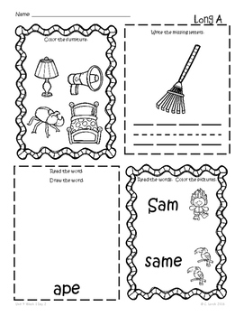 Kindergarten Wonders Unit 9 Homework Packet