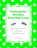 Kindergarten Wonders Word Wall Cards