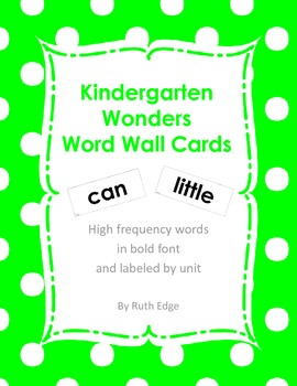 Kindergarten Wonders Word Wall Cards