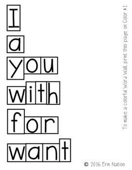Kindergarten Wonders Word Wall Words {3 versions for the 50 words}