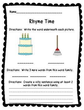 Kindergarten Word Family Kit