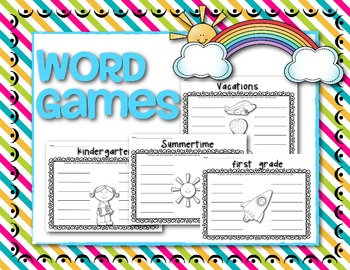 Kindergarten {Word Games} Freebie! Great for End of the Year