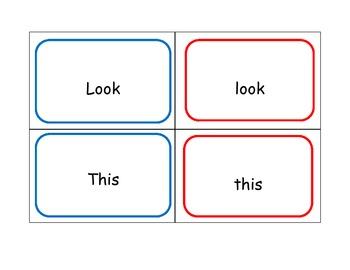 Kindergarten Word Match: upper-lower case memory game