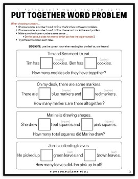 Kindergarten Word Problem Bank - FREEBIE