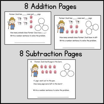 Kindergarten Word Problems: Addition, Subtraction, Missing Addends: C. Core Farm