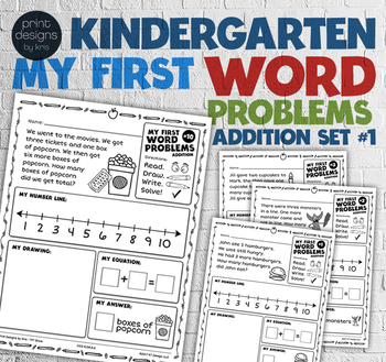 Kindergarten Word Problems Common Core • My First Word Problems Addition BUNDLE
