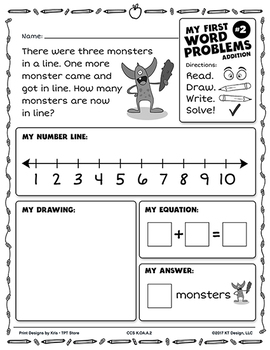 Kindergarten Word Problems Common Core Standard - My First Word Problems SAMPLE