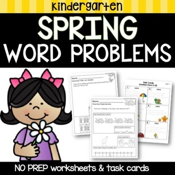 Kindergarten Word Problems and Task Cards  March - April