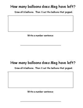 Kindergarten Word Problems Mini Book:  Subtraction Book: POP!: RDW:  K.OA.2