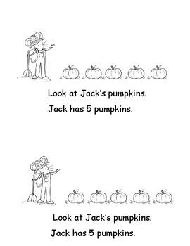 Kindergarten Word Problems Mini Book: Subtraction: Picking Pumpkins: K.OA.2  RDW