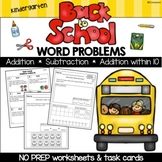 Kindergarten Word Problems and Task Cards | Back to School