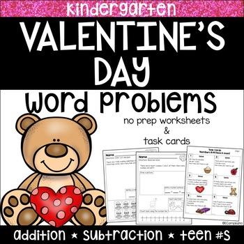 Kindergarten Word Problems and Task Cards   Valentine's Day