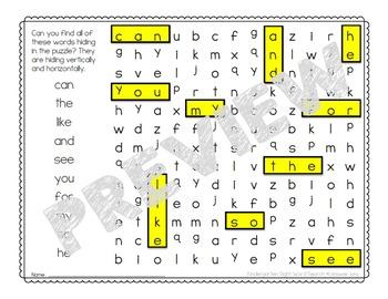Kindergarten Word Search Puzzles