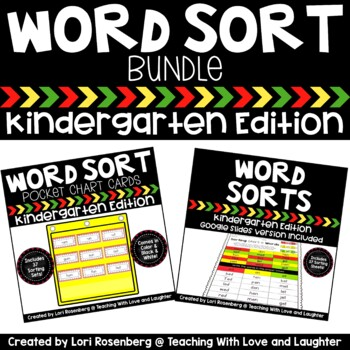 Kindergarten Word Sorts Activity Sheets and Pocket Chart Cards