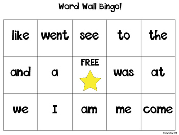 Kindergarten Word Wall Bingo! (Also includes blank templates for older grades)