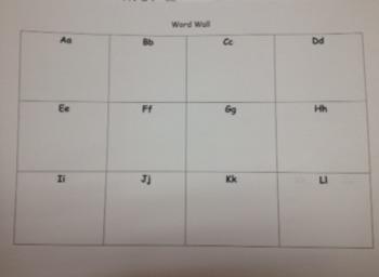 Kindergarten Word Wall Blank