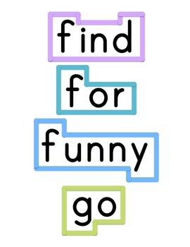 Kindergarten Word Wall Dolch primer and pre-primer letter shapes