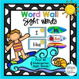 Word Wall First 40 Sight Words Surfing Theme Kindergarten with Editable Cards