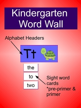 Kindergarten Word Wall (Primary Colors)