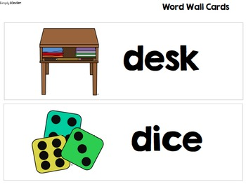 Kindergarten Word Wall Vocabulary