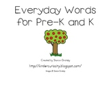 Kindergarten Word Wall Word Apples (sight words, everyday words)