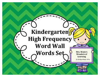 Kindergarten Word Wall Word Set Green