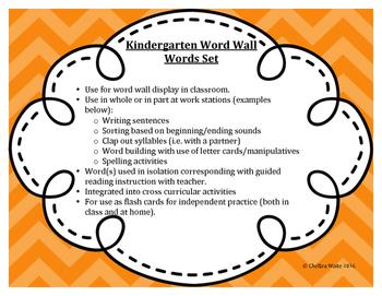 Kindergarten Word Wall Word Set Orange