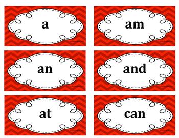 Kindergarten Word Wall Word Set Red