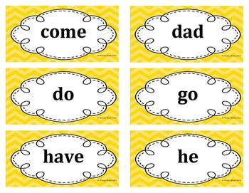 Kindergarten Word Wall Word Set Yellow