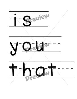 Kindergarten Word Wall Words