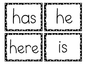 Kindergarten Word Wall Words, Black Dots