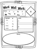 Kindergarten Word Wall Work