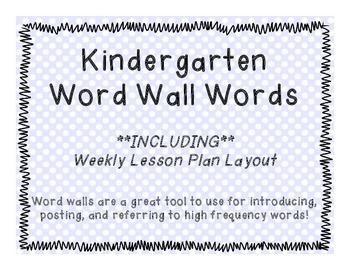 Kindergarten Word Wall with Activities