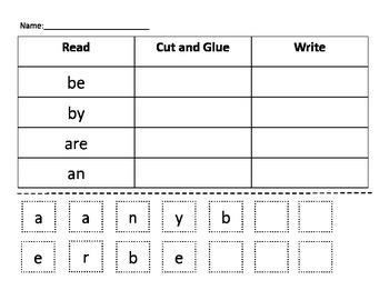 Kindergarten Words- Cut Glue & Write