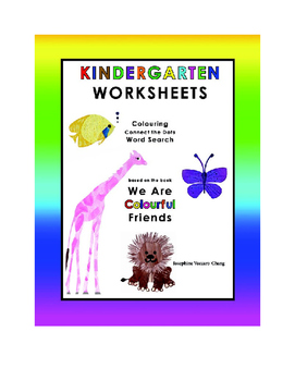 Kindergarten Worksheets--Colouring, Connect the Dots & Word Search