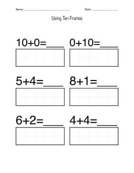 Kindergarten Worksheets- Counting & Addition w/ Ten Frames