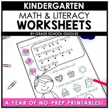 Kindergarten Worksheets Literacy and Math Bundle