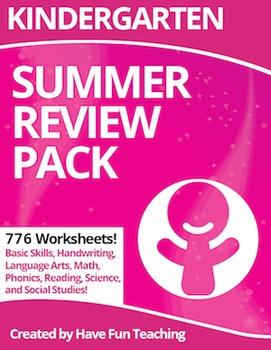 Kindergarten Worksheets Summer Review Pack (776 Worksheets)