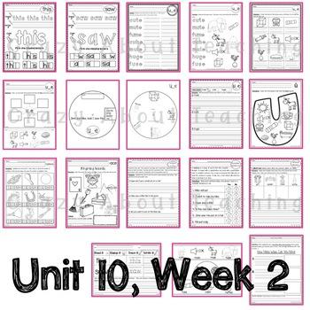 Kindergarten Worksheets (Unit 10) for Benchmark Advance