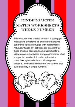 Kindergarten Worksheets for Whole Number