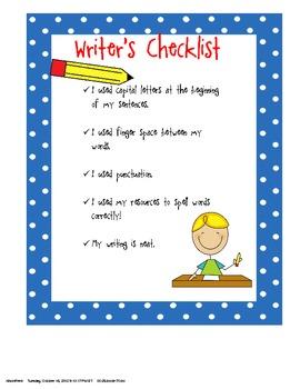 Kindergarten Writer's Checklist