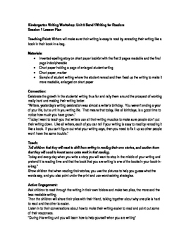 TC Writing Lesson Plans Kindergarten Writing For Readers Unit