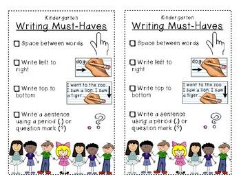 Kindergarten Writing Bookmarks